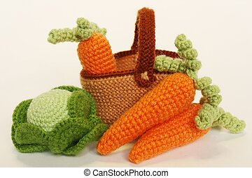 Basket with Vegetables: cabbage and - Knitted basket with...
