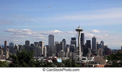 Downtown Seattle Skyline with Plane