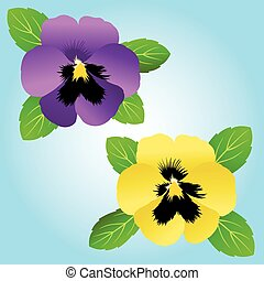 Pansies - Bright purple and yellow pansy icons.