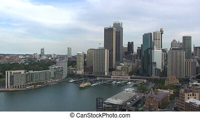 Cityscape of Sydney Harbor in Australia with Boats %u2013...