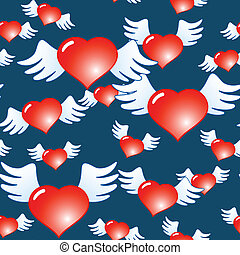 Dark blue abstract background of red hearts - Valentine's...