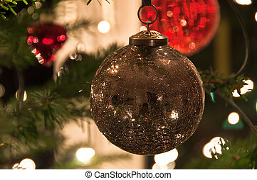 Christmas Balls Hanging From Christmas Tree - Various...