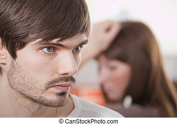 couple in quarrel - unhappy couple and conflict situation at...