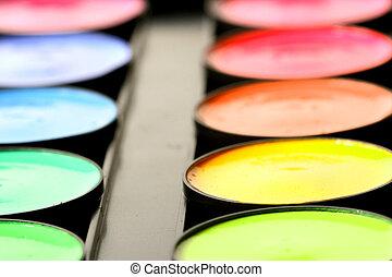 paint colors pallete macro close up