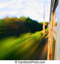 speed train - speed motion from the train window