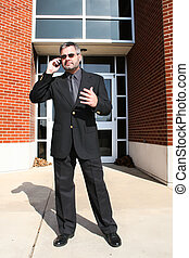 Business Man on Phone Outside