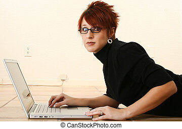 Concerned Woman with Laptop