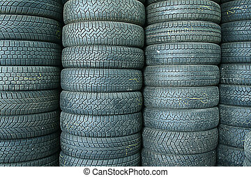 Stack of tyres