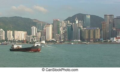 Hong Kong Harbor During Day with Boats %u2013 Time Lapse