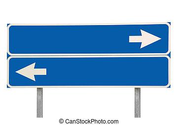 青, 隔離された, 十字路, 2, 矢, 印, 道