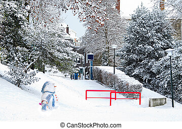 Streetview city in snow with snowmen - City in the snow -...