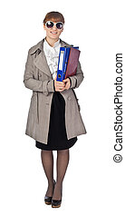 Businesswoman with book in black suit isolated on white background