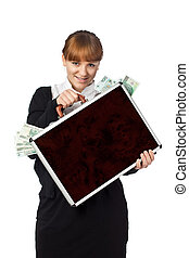 Image of a woman holding a briefcase overflowing with money