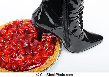 Stomp out over eating  - Black stiletto in red cherry pie.