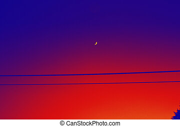 Half moon - An abstract colorful view of a sunset sky