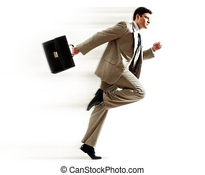 Hurrying boss - Portrait of running businessman with...