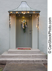 French style door with lights - Olive green door in a french...