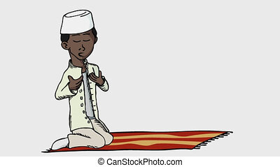 Praying Boy I - A cartoon of a darker skinned young Muslim...