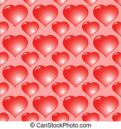 Abstract red background with hearts - Valentine's day...