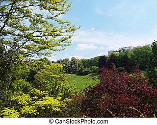 Paris landscape - Landscape of the Park Buttes Chaumont in...