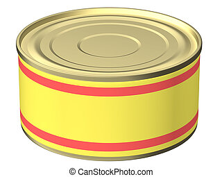 Can - The three-dimensional, cartoon image of a can with an...