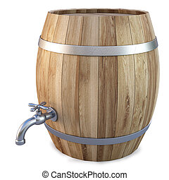 barrel - Wooden barrel with the tap isolated on white