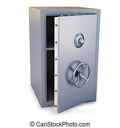safe - steel safe with the door open isolated on white
