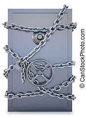 Safe clad in steel chain with a lock isolated on white with...