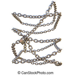 chain of steel entangled around an invisible object isolated...