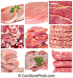 meat collage - a collage of nine pictures of different meat...