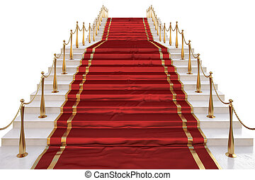 carpet - Red carpet to the stairs lined with gold stanchions...