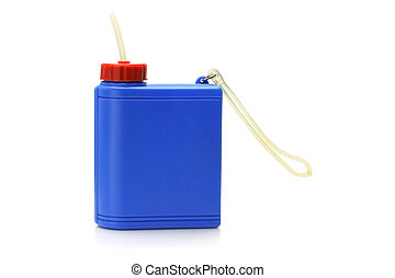 Plastic water container - Blue plastic water container on...