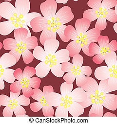 Abstract cherry-flowers background. Seamless pattern. Vector...