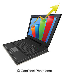 business growth graph in laptop - illustration of business...