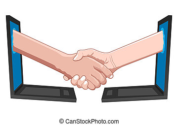 business deal - illustration of business deal on white...