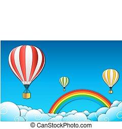 parachute with rainbow