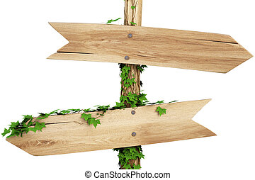 arrow - old wooden pointer overgrown with ivy. isolated on...