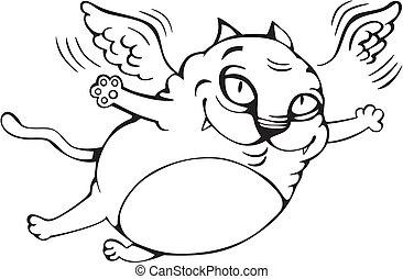 Flying cat cartoon