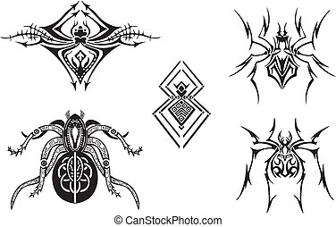 Symmetrical Spider Designs - The set with five simple...