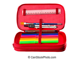 Pencil case - Writing and drawing tools in a pencil box for...