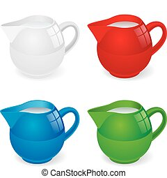 Jugs with milk