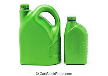 Big and small plastic lubrication oil containers - Two green...