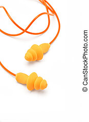 Orange ear plugs isolated on white background