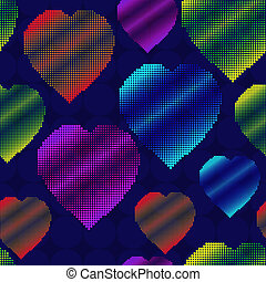 Background with halftone multicolor hearts - Valentines day...
