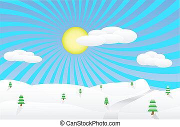 Winter landscape illustration