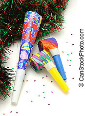 Colorful Party horn and blowers on white background