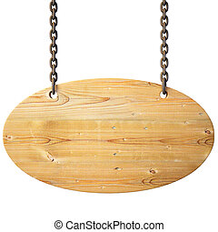 sign - wooden sign on the chains. with clipping path.