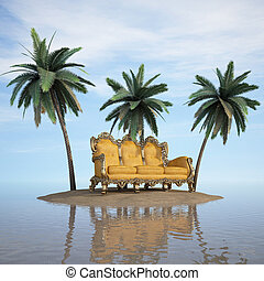 island - classic sofa stands on a desert island in the sea.