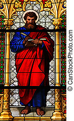 Saint Mark the Evangelist. - Church window in the Dom of...