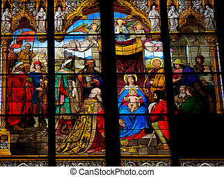 Adoration of the Magi - Church window in the Dom of Cologne,...